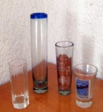 Different sized tequila shooters